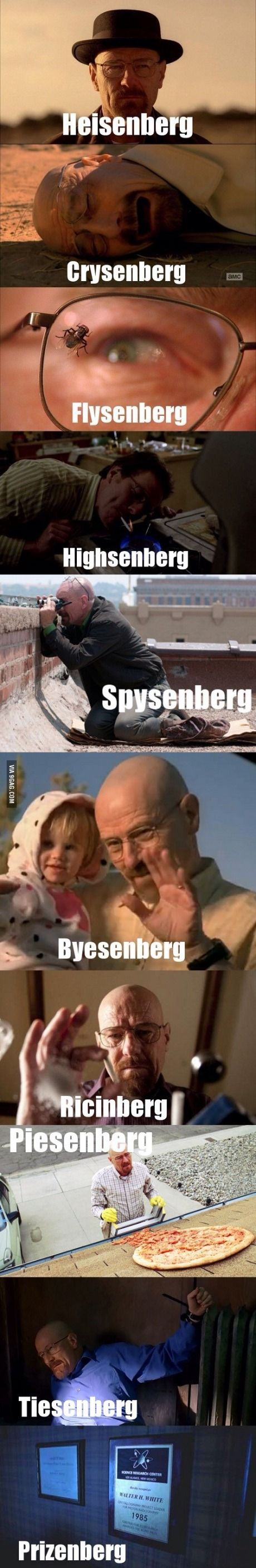 The many faces of Walter White - http://geekstumbles.com/funny/the-many-faces-of-walter-white/