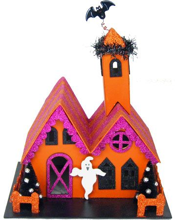 glittered victorian style halloween houses halloween decorations - Glitter Halloween Decorations