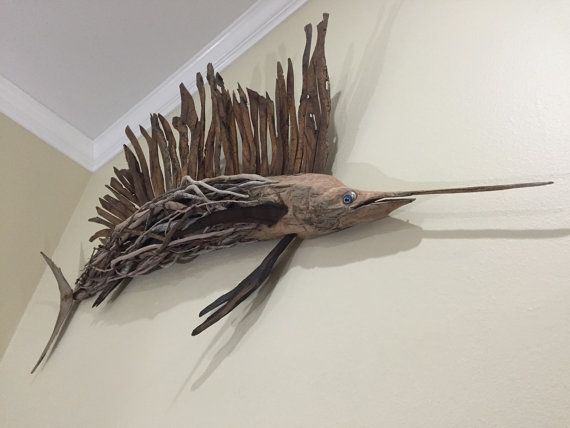 5'ft. Driftwood Sculpture Life Size Sailfish made by DriftingIdeas