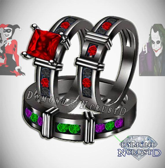 His & Hers Harley Quinn and The Joker Batman by DymondNcrustD Engagement/Wedding Rings