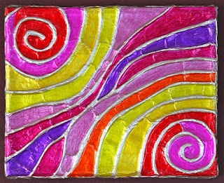 Foil Embossed Canvas: glue, yarn, tin foil, colored Sharpies- Very cool!!