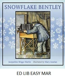 Snowflake Bentley - by Jacqueline Briggs Martin, illustrated by Mary Azarian. A biography of a self-taught scientist who photographed thousands of individual snowflakes in order to study their unique formations.