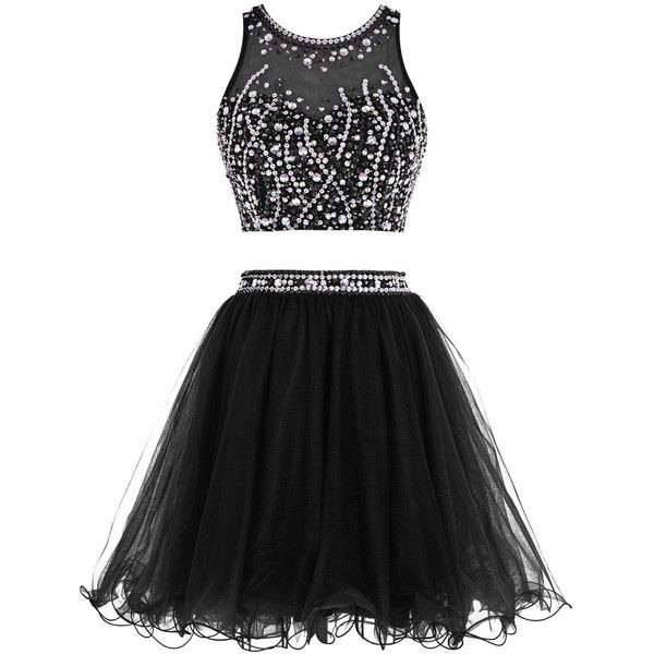 Tideclothes Short Beading Prom Dress Two Pieces Tulle Homecoming Dress ($75) ❤…