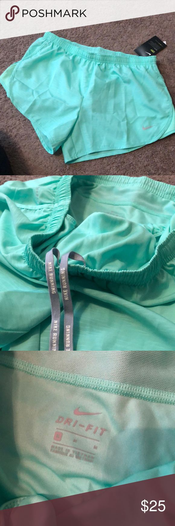 NEW NIKE RUNNING SHORTS - MINT Mint color shorts! Has the compression underwear inside Nike Shorts