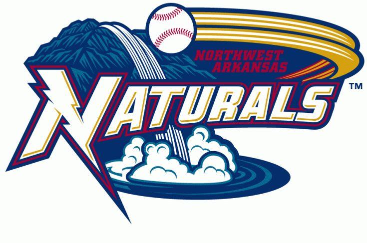 Northwest Arkansas Naturals Primary Logo 2008 A Waterfall On A Mountain With A Baseball Flying Baseball Teams Logo Sports Team Logos Minor League Baseball
