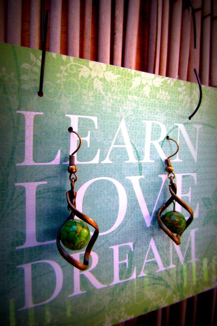Green Howlite Stone Bead in a Brass Twist www.madeit.com.au/MadeByKasame