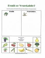 Fruit or Vegetable?  Sorting and classifying cut and paste activity for preschoolers!