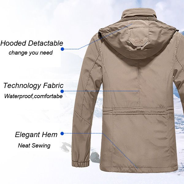 senlin Jeep Mens Casual Outdoor Hooded Detactable Jacket Autumn Windbreaker Sport Coat
