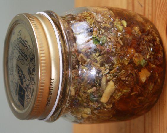 Various methods for preserving herbs, including in vinegar, honey, salt, and sugar.