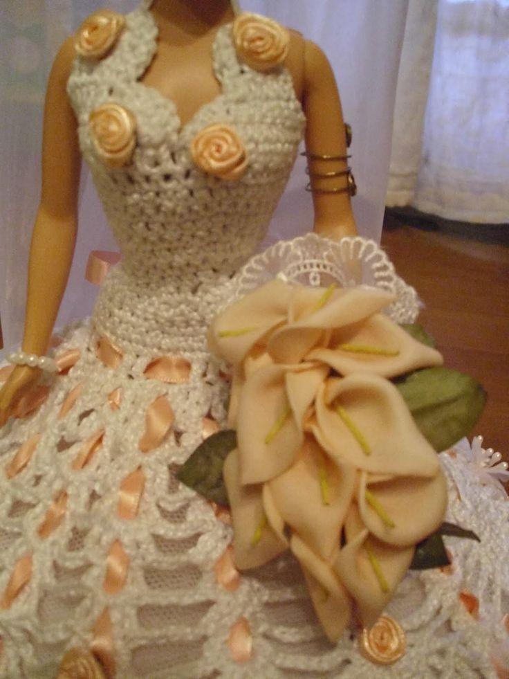 Lujo Barbie Crochet Patrón De Vestido De Novia Galería - Manta de ...