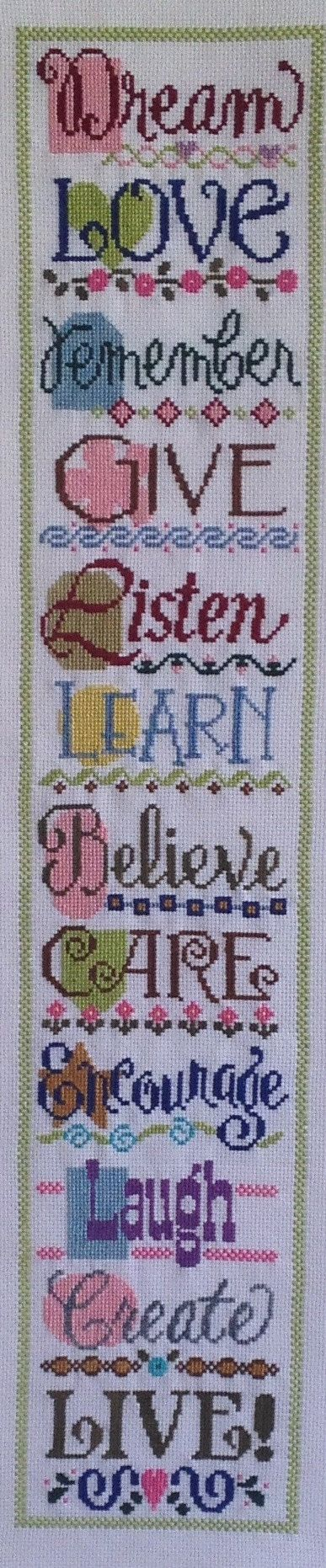 Completed finished cross stitch Living with by ActsChristianGifts, $49.99
