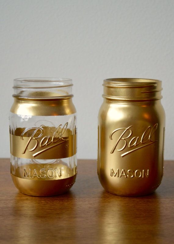 Gold Painted Mason Jar, Interior design trends, Hipster Gift, Wedding Decor, Birthday Party, Minimal, Ball Mason Jar, Gold, Trendy Decor