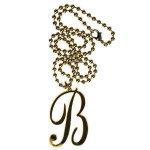 Collar largo bronce dorado letra B www.sanci.es