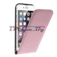 Δερμάτινη, ροζ θήκη - φυσικό split δέρμα για iPhone 6/6S