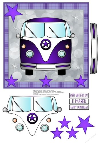 """My favourite colour!    The card topper is 7x7"""", and you have some pieces to cut and layer to make it 3d.  The reg plate is blank on the van, you can add a name etc on there if you like. I've included 3 reg plates with greetings on them, they say, HAPPY MOTHER'S DAY, U PASSED, HAPPY BIRTHDAY."""