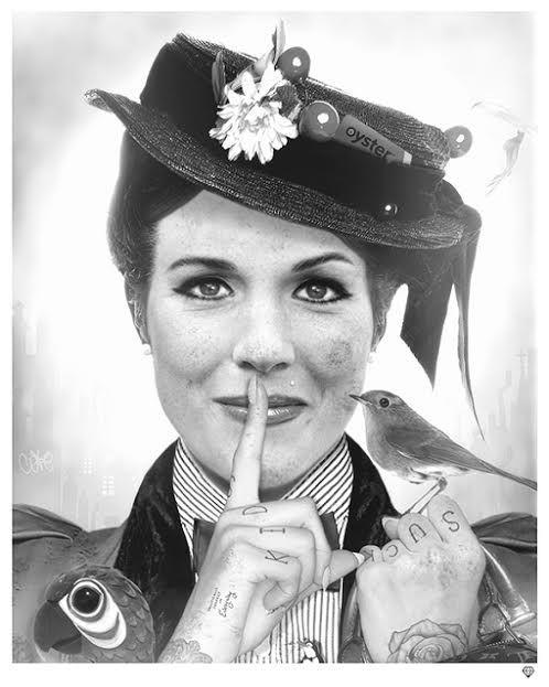 Spoonful Of Sugar Black & White by JJ Adams #art #artist #JJAdams #blsckandwhite #monotone #marypoppins #julieandrews #dickvandyck #penguins #soot #chimneysweep #practicallyperfect #bag #partott #umbrella #hat #80s #retro #vintage #oystercard #tattoos #ro