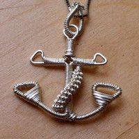 Wire wrapped anchor pendant