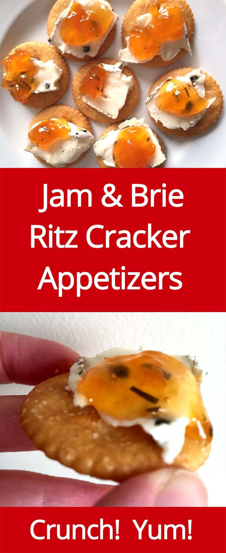 Jam & Brie Cheese On Ritz Crackers - Amazing Easy Appetizer!   MelanieCooks.com