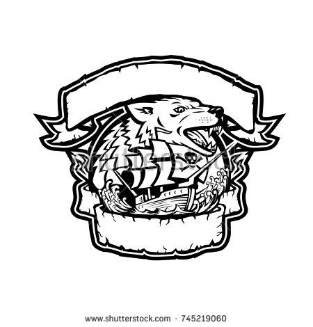 Retro style illustration of an angry wolf head with galleon pirate ship below it framed from ribbon and banner on isolated background in black and white.  #pirateship #wolf #retro #illustration