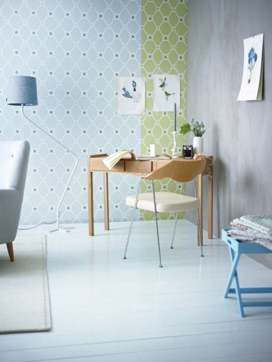 pastels and retro-inspired shapes on the wall