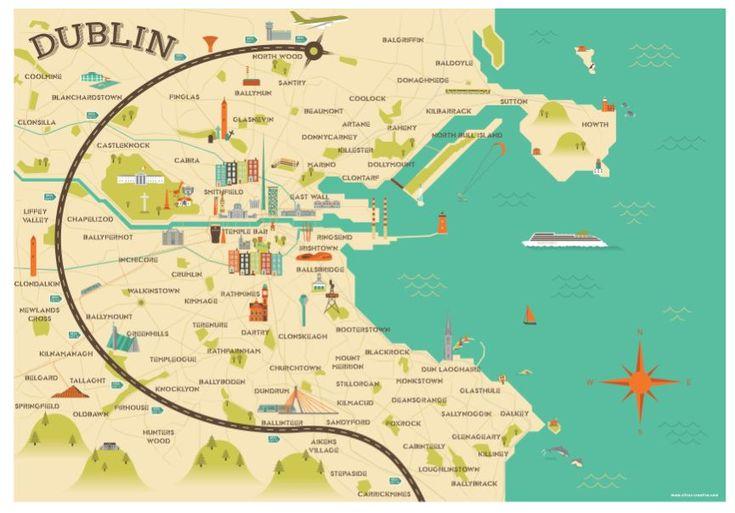 Illustrated map of Dublin, Ireland, travel art Europe by Alan Byrne