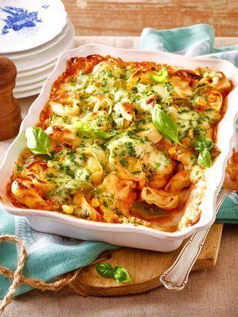 Tortelloni-Auflauf mit Paprika und Mais   – Kochrezepte