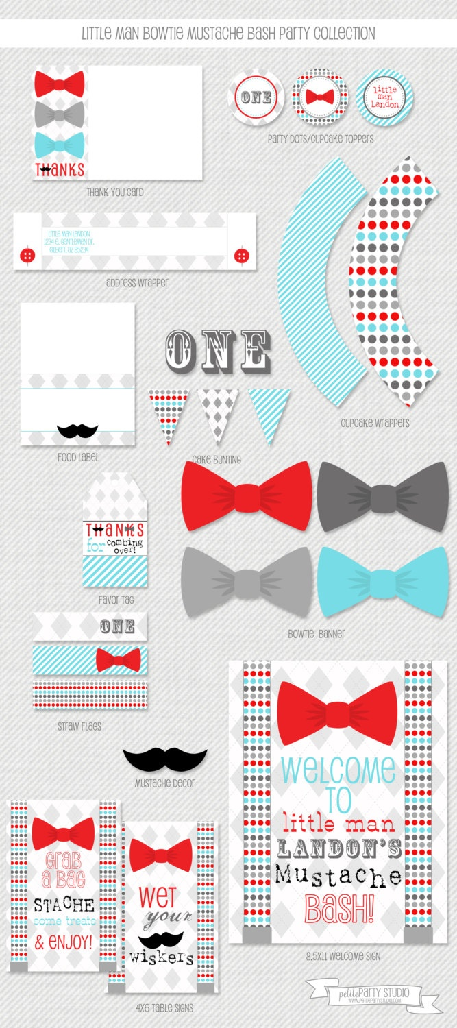 Little Man Bowtie Mustache Bash Printable Birthday Party Collection by Petite Party Studio. $49.00, via Etsy.