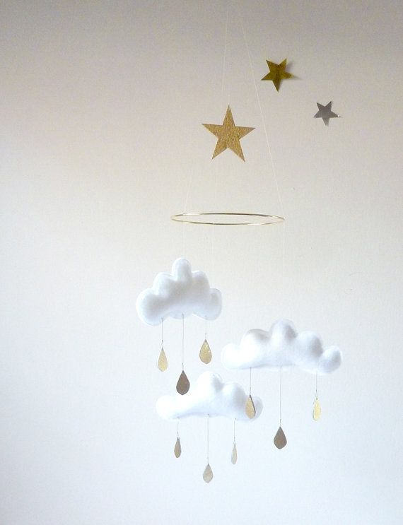"""White and Gold cloud mobile for nursery """"SHIRO"""" with gold star by The Butter Flying-Rain Cloud Mobile Nursery Children Decor"""