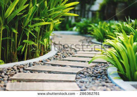 Alley in tropical garden, Koh Samui, Thailand
