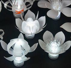 Sarah Turner - Plastic Bottle Tea Lights. Gloucestershire Resource Centre http://www.grcltd.org/scrapstore/