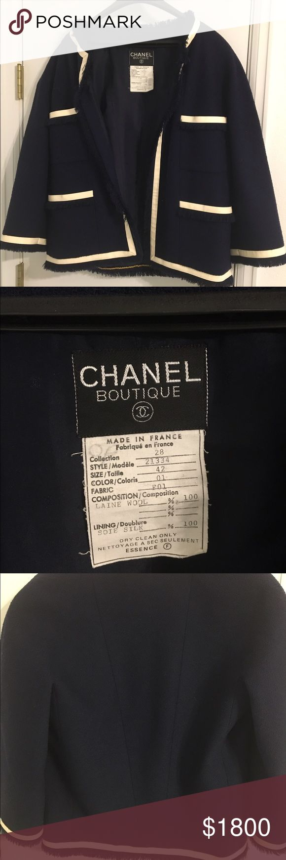 Chanel Boutique original. Collection 28 size 42. Perfect condition. White vinyl piping is retro. Beautiful piece for Chanel collectors. CHANEL Jackets & Coats Blazers