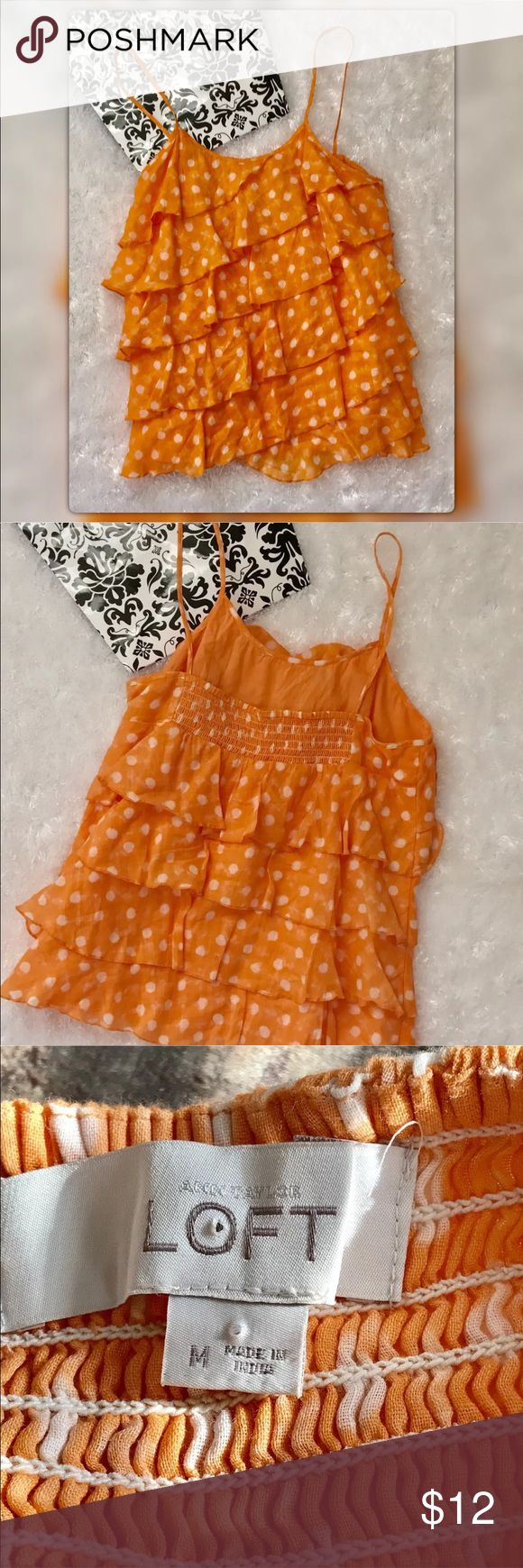 """LOFT M Orange Semi Sheer Layered Tank Cami Top LOFT M Orange Semi Sheer Layered Tank Cami Top. Pit to pit measures 17.5"""" Length 26"""". Gently used with no flaws. Thank you for checking out my listing Stop by Flamingos Closet where something special is waiting for you ❤️ LOFT Tops Camisoles"""