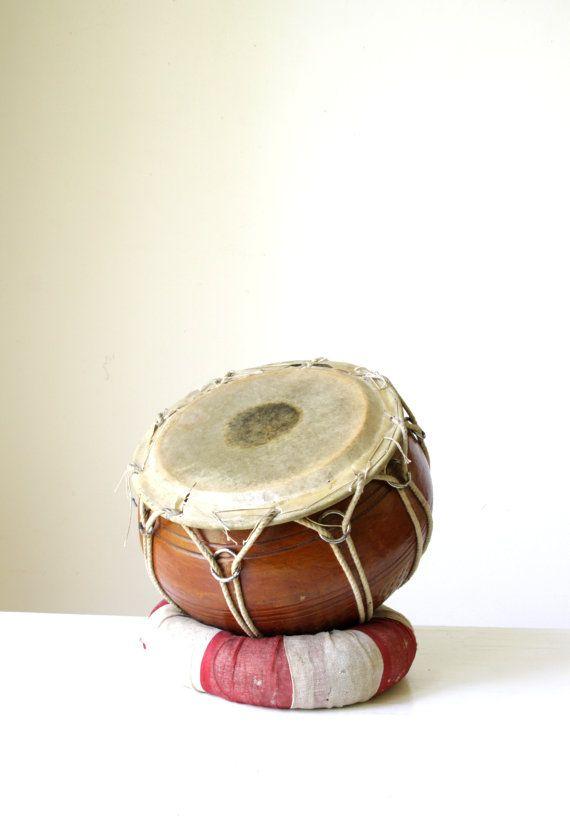 Vintage hand drum/ round bongo drum/ by RetroandRosesvintage