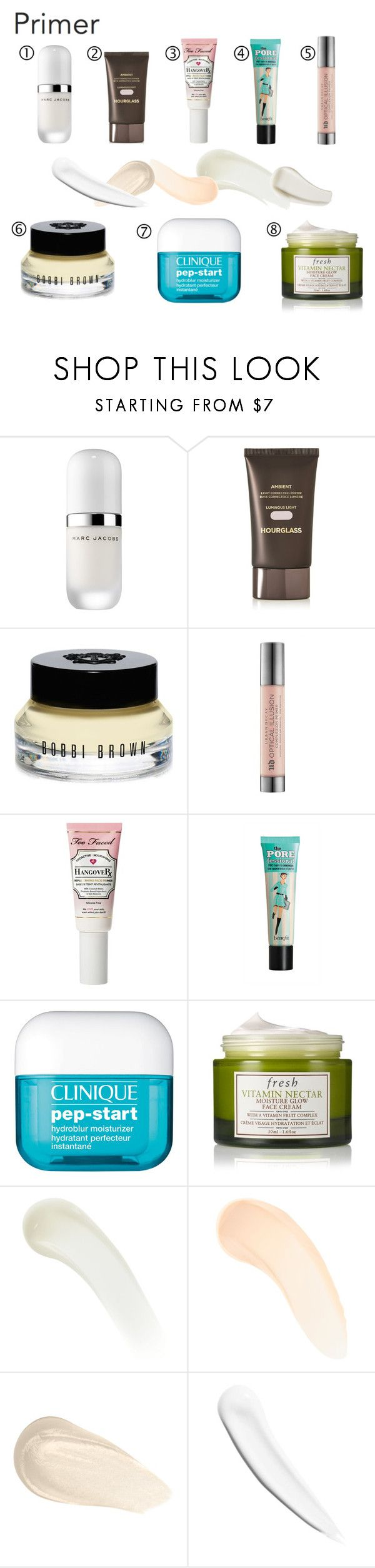 """""""PRIMER"""" by spark-llay ❤ liked on Polyvore featuring beauty, Marc Jacobs, Hourglass Cosmetics, Bobbi Brown Cosmetics, Urban Decay, Too Faced Cosmetics, Benefit, Clinique, Fresh and NARS Cosmetics"""