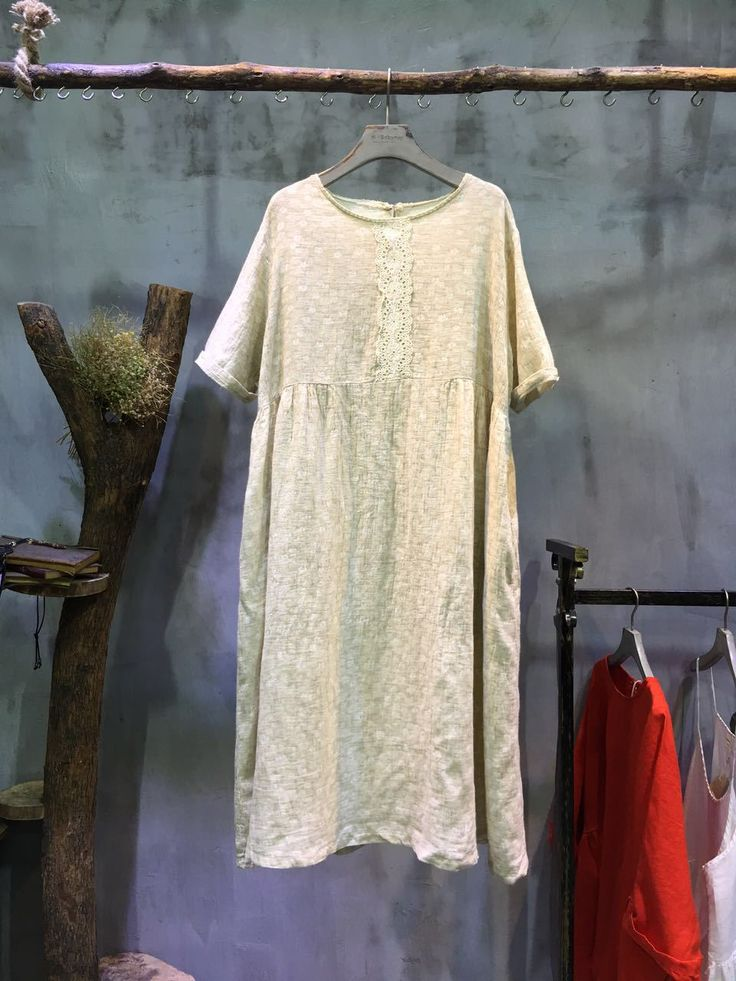 Mori Girl Lace Matching Spring Dress Plus Size Linen Beige Dress    #dress #linen #beige #spring #lace #girl #loose #plussize #oversize