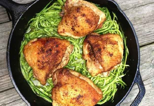 Chicken Thighs with Peppery Pesto and Zucchini Noodles