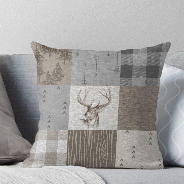 Deer Patchwork Rustic Neutrals Throw Pillow By Sugarpinedesign Rustic Throw Pillows Throw Pillows Pillows