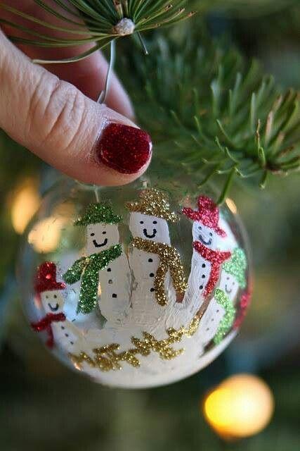 Handprint snowman ornament. So cute