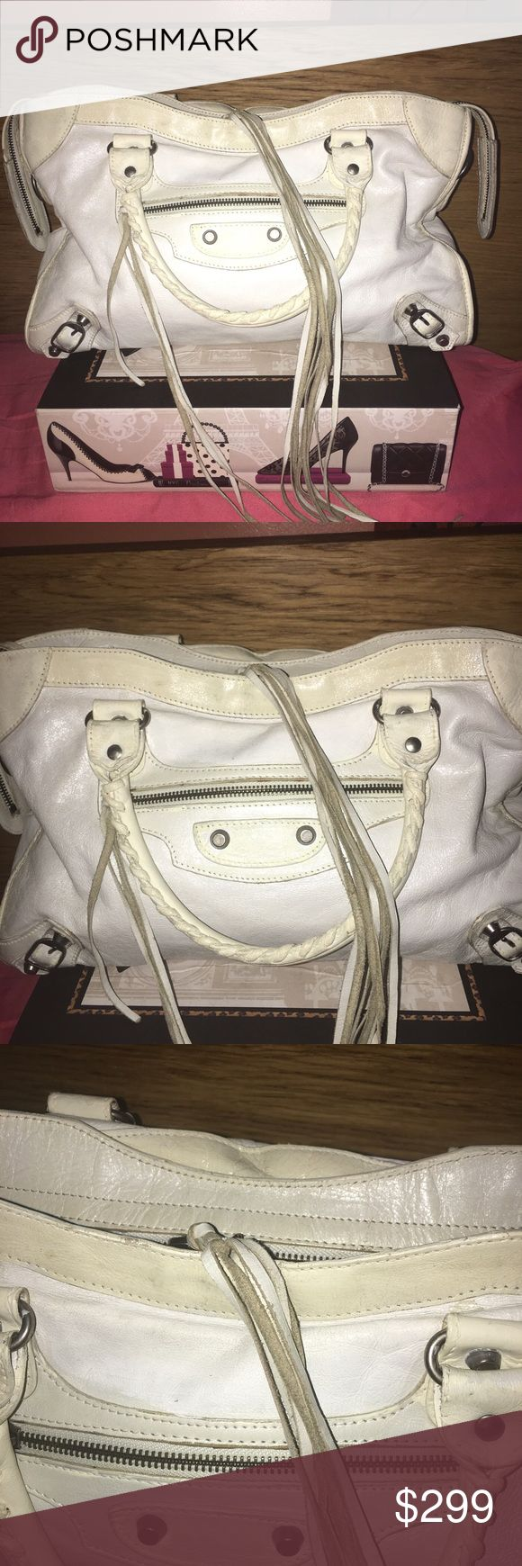 Balenciaga Classic City Shoulder Bag Classic styling. White trimmed in ivory with silver hardware. TV 600 Balenciaga Bags Shoulder Bags