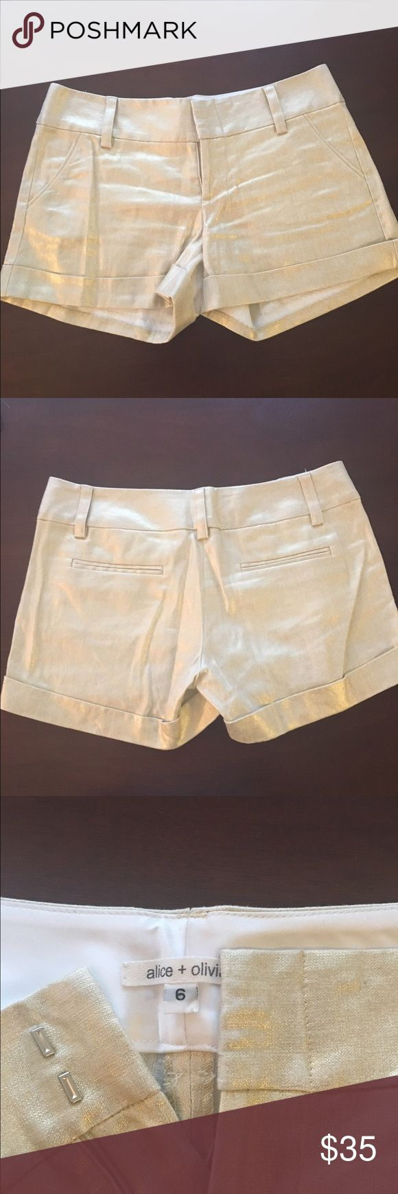 Stunning Alice and Olivia gold shorts Beautiful Alice and Olivia gold shorts. These are so flattering and such a pretty color. The gold is subtle but unique and different. You're gunna LOVE these! Alice + Olivia Shorts