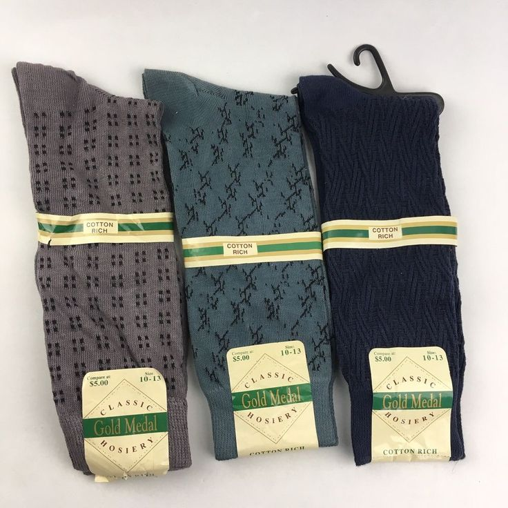 Mixed Lot of 3 Pairs Gold Medal Mens Dress Socks Size 10-13 Hosiery Cotton Blend #GoldMedal #Dress