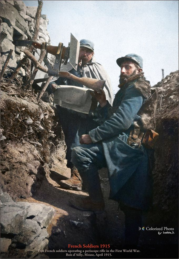 WWI - Triple Entente Uniforms & Gear: Meuse, April 1915; two French soldiers operating a periscope rifle.