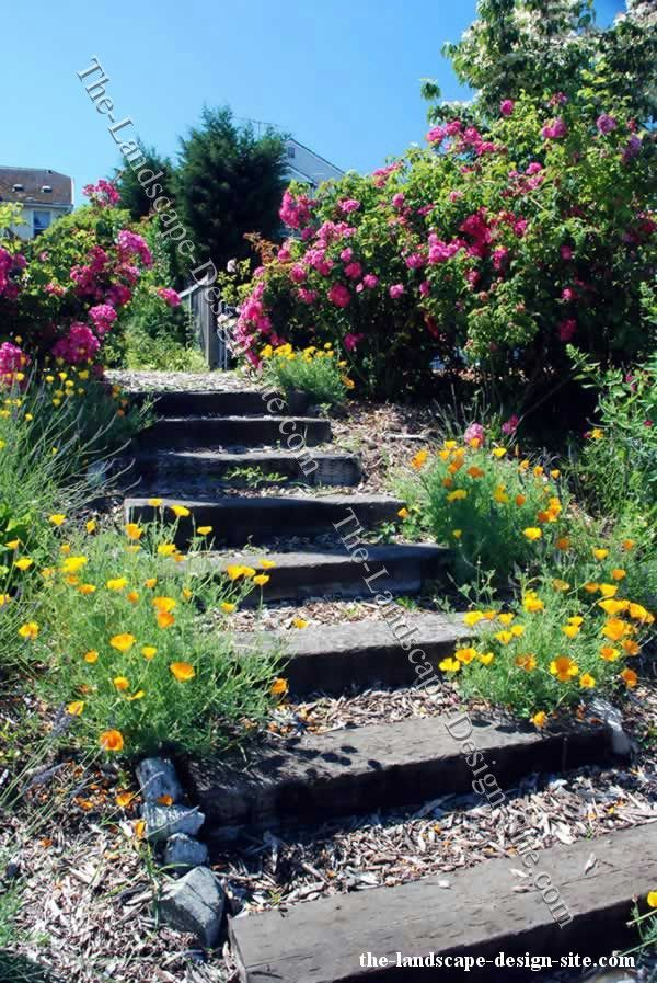 Backyard landscaping for hills railroad tie xeriscape for Pictures of garden steps designs