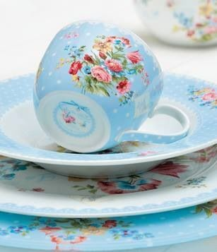 lovely floral teacup, saucer and plates