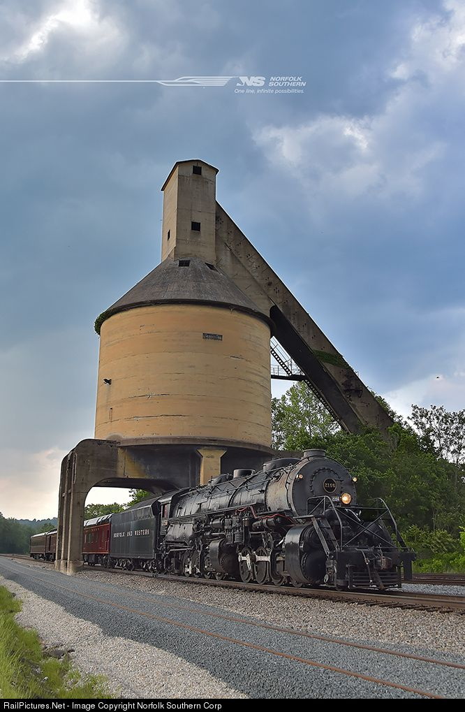 Along the journey from St Louis to Roanoke, Norfolk and Western Y6a #2156 was able to greet an old friend: The coaling tower at Prichard, West Virginia. If these two relics could talk, they could have sat and chatted about progress for years. Photo by Casey Thomason.