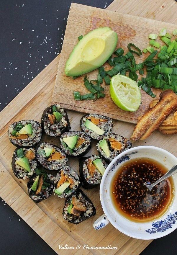 Sushis végétaliens: patate douce Sriracha noix de coco and quinoa