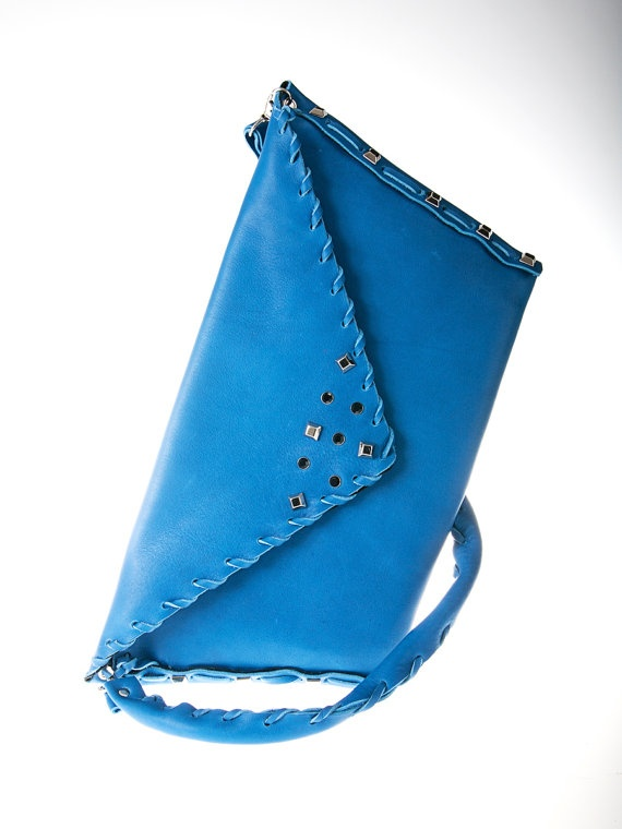 blue cobalt leather purse bag by ElenLovelyCollection on Etsy, €75.00