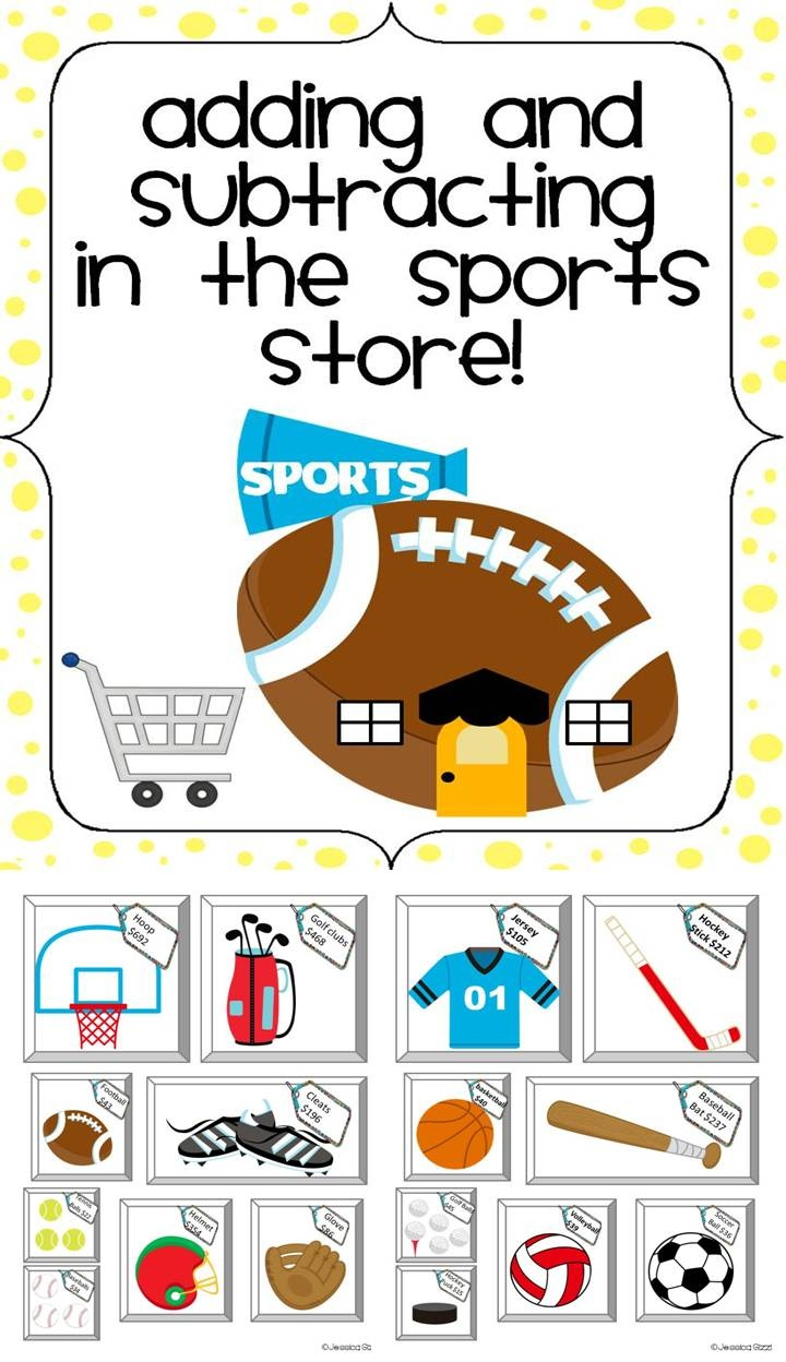 Jam Packed Centers with addition and subtraction at the sports store! 5 Activities revolved around money and items you can purchase at a sports store. This is one of 14 stores that will be coming soon.