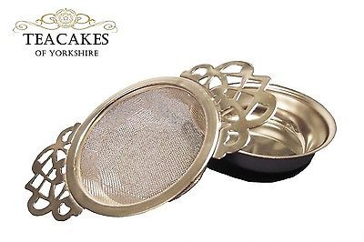 Tea Strainer Sieve Infuser Stainless Steel Empress Traditional Style Drip Bowl