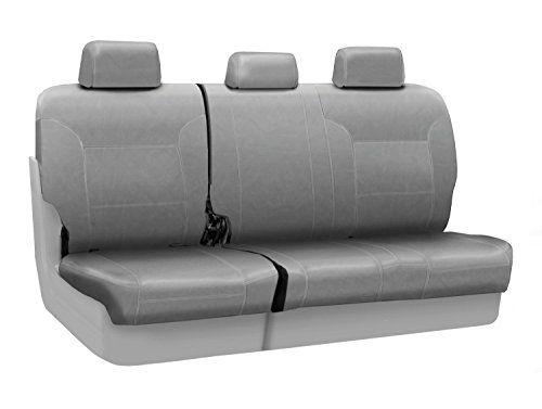 Coverking Rear 60/40 Bench Custom Fit Seat Cover for Select Toyota RAV4 Models - Leatherette (Light Gray)